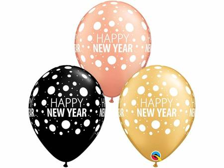 Balon 11 cali QL z nadr. Happy New Year Dots/ 25 szt. 80679