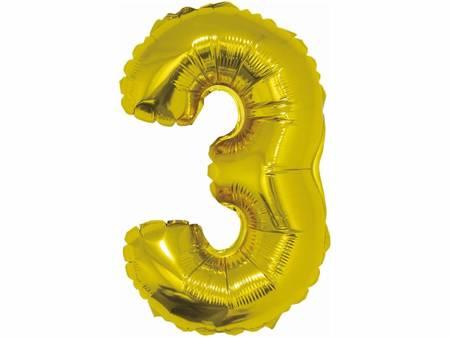"""Balon foliowy """"Cyfra 3"""", złota, 35 cm FG-C35Z3"""