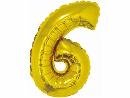 """Balon foliowy """"Cyfra 6"""", złota, 35 cm FG-C35Z6"""