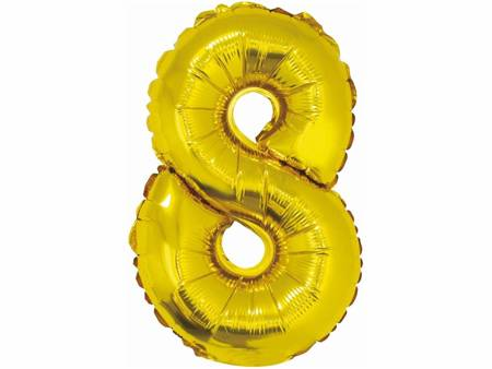 """Balon foliowy """"Cyfra 8"""", złota, 35 cm FG-C35Z8"""