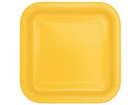 Talerzyki papierowe, żółte, 18 cm, kwadratowe, 16 szt. 31787U